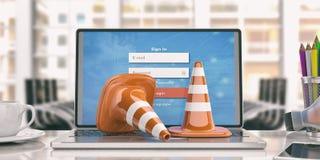 Trafikera kottar på en bärbar dator, illustrationen 3d Fotografering för Bildbyråer