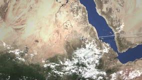 Trafikflygplanflyg till Khartoum, Sudan från öst, tolkning 3D vektor illustrationer