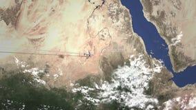 Trafikflygplanflyg till Khartoum, Sudan från den västra tolkningen 3D stock illustrationer