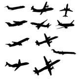 trafikflygplansilhouette Arkivfoton