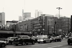 TrafikFrankfurt centrum Arkivfoto