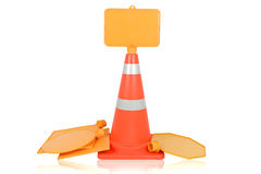 Trafikkottar och tecken Fotografering för Bildbyråer