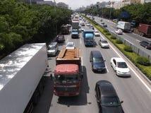 Trafiklandskap av den Shenzhen 107 medborgarevägen Royaltyfri Fotografi
