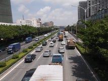 Trafiklandskap av den Shenzhen 107 medborgarevägen Arkivfoto