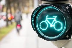 Trafikljus för cyklar Arkivbild