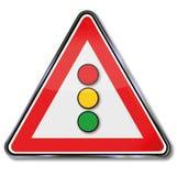 Trafikljus i rött, grönt och gult Arkivbilder