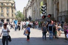 Trafikljus i Santiago, Chile royaltyfri fotografi