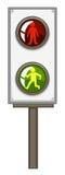 Trafikljus med gräsplan och röda ljus Arkivfoto