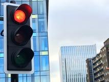 Trafikljus med stoppljus på Fotografering för Bildbyråer