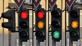 Trafikljus signalerar medvetenhetaktionen fotografering för bildbyråer