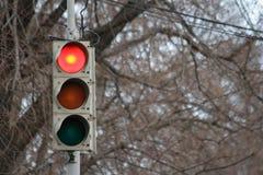 Trafiksignal, rött ljus Fotografering för Bildbyråer
