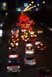 Trafikstockning för Abstact suddighetsbokeh på vägen i staden Arkivbilder