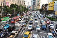 Trafikstockning i Bangkok Arkivbilder