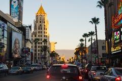 Trafikstockning i den Hollywood boulevarden royaltyfri fotografi