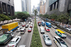 Trafikstockning i Hong Kong Arkivbilder