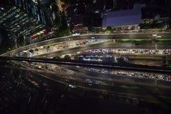 Trafikstockning i Kuningan område Jakarta Arkivbild