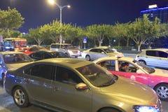 Trafikstockning i natten Royaltyfri Foto