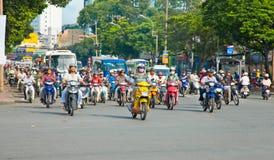 Trafikstockning i Saigon, Vietnam Arkivbild