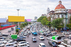 Trafikstockning i Yangon Myanmar Arkivfoto