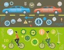 Trafikstockning och gräsplanenergibegrepp vektor illustrationer