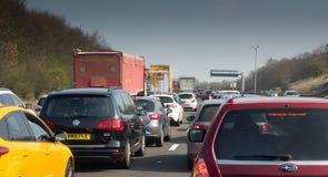 Trafikstockning på en brittisk Motorway M1 royaltyfri bild