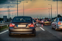 Trafikstockning på en motorväg Fotografering för Bildbyråer