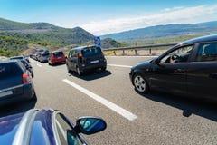 Trafikstockning på huvudvägen Arkivbilder