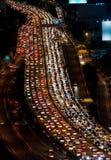 Trafikstockning på uttrycklig väg Arkivfoto