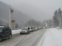 Trafikstockning på det Prahova området Arkivfoton