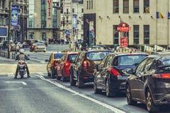 Trafikstockning rusningstid Arkivbild