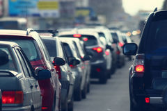 Trafikstockningar i staden, väg, rusningstid Arkivbilder