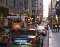 Trafikstockningmarknadsgata Sydney Arkivfoto
