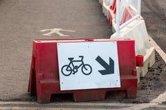 Trafiktecken: Cykelväg Arkivfoto
