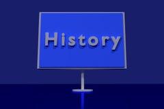 Trafiktecken med det engelska ordet HISTORIA Royaltyfria Foton