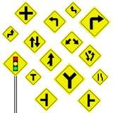 Trafikvarningstecken på vit bakgrund Arkivfoto