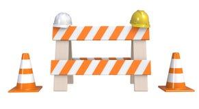 Trafique cones e um ` sob a barreira do ` da construção isolada em um fundo branco Sob o conceito da construção Sinal de aviso da Fotos de Stock Royalty Free