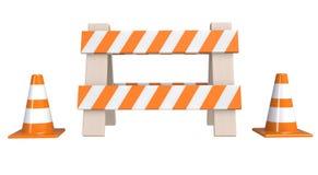 Trafique cones e um ` sob a barreira do ` da construção isolada em um fundo branco Sob o conceito da construção Sinal de aviso da ilustração do vetor
