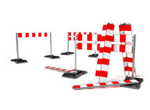 Trafique el símbolo de la construcción, barricada móvil en blanco Fotografía de archivo
