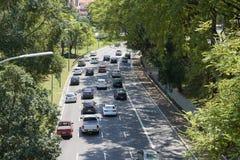 Trafique en 23 de Maio Avenue en Sao Paulo Fotos de archivo