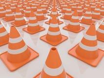Trafique los conos aislados en el fondo blanco, 3D rinden ilustración del vector