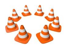 Trafique los conos en círculo. Aislado en blanco. Fotos de archivo