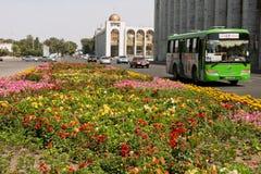 Trafique no streeet verde com ônibus locais & carros Fotografia de Stock Royalty Free