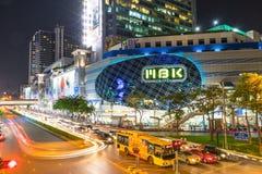 Trafiquez la lumière encombrée de voiture à Bangkok, Thaïlande Images libres de droits