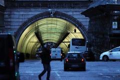 Traforo Umberto I, tunnel i Rome Arkivbild
