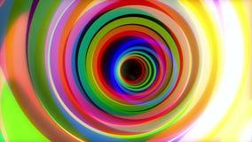 Traforo variopinto Animazione del volo attraverso i cerchi di colore Moto psichedelico di giro del tunnel degli anelli variopinti stock footage