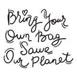 Traga seu próprio saco salvo nosso planeta Texto preto, caligrafia, rotulação, garatuja à mão no branco Conceito Eco do problema  ilustração do vetor