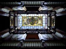 Tragaluz de Nouveau del arte - casa española Imagen de archivo