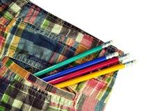Tragbare Bleistifttasche stockbild