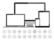 Tragbare Geräte und minimalistic Ikonen Stockbilder