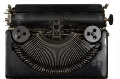Tragbare Schreibmaschine der Weinlese mit kyrillischen Buchstaben auf Weiß Stockbild